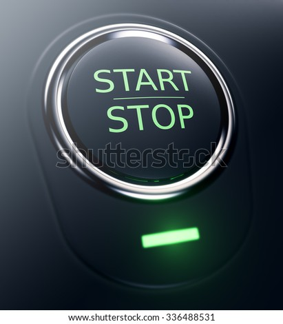 one button with text: start stop (3d render) - stock photo