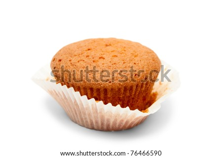One cake in open paper packing isolated on white - stock photo