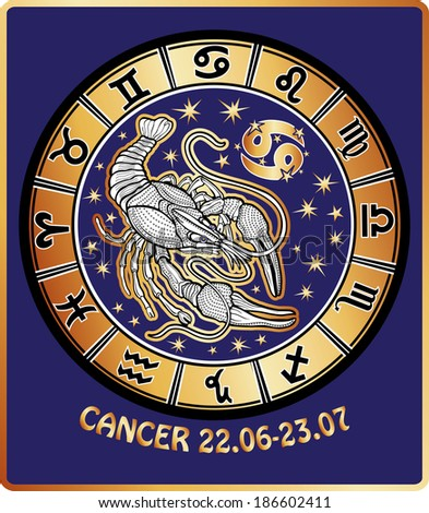 One Cancer zodiac sign behind them are symbols of all zodiac signs Horoscope circle. Golden and white figure on blue background.Graphic Vector Illustration in retro style.  - stock photo
