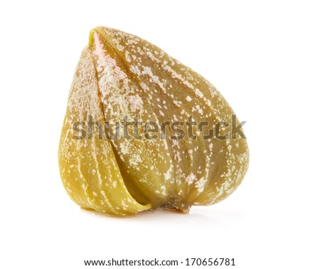 One capers isolated on white background - stock photo