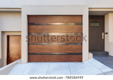 One car garage door, modern house with two doors