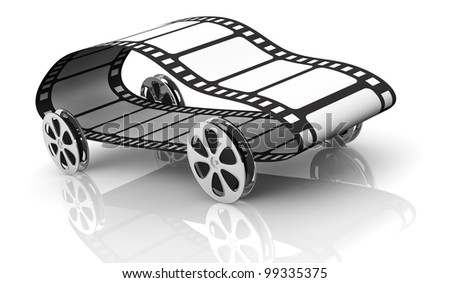 one car made with four film reels as wheels and a film strip, concept of film industry or action movie, but also fast movie streaming (3d render) - stock photo