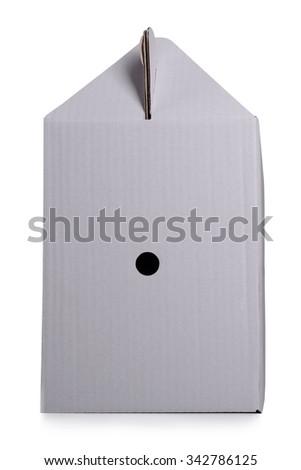 one cardboard box isolated on white background - stock photo