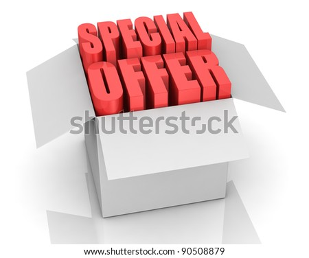 one carton box with the words: special offer coming out (3d render)