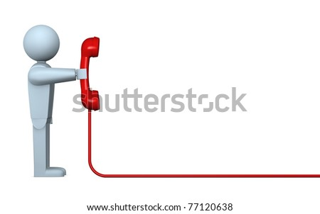 one cartoon character with a telephone receiver and a cable that goes out to the right (3d render) - stock photo
