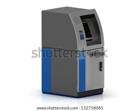 One cash machine ATM of metal on a white background