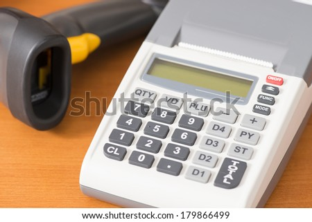 one cash register with a barcode reader - stock photo