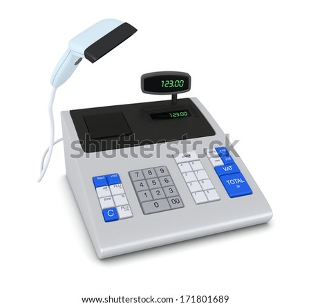one cash register with a barcode reader (3d render)