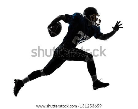 one caucasian american football player man running   in silhouette studio isolated on white background - stock photo