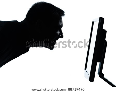 one caucasian business man face silhouette with computer screen display portrait in studio isolated on white background - stock photo