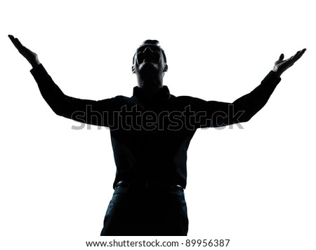 one caucasian business man happy arms outstretched portrait silhouette in studio isolated on white background - stock photo
