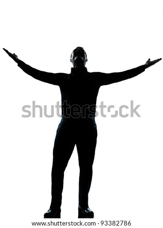 one caucasian business man happy arms outstretched silhouette Full length in studio isolated on white background - stock photo