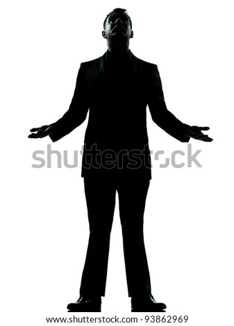 one caucasian business man hopeful looking up  silhouette standing Full length in studio isolated on white background - stock photo
