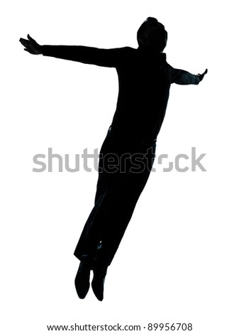 one caucasian business man  jumping flying wellness silhouette Full length in studio isolated on white background - stock photo