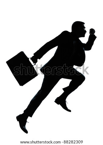 one caucasian business man jumping running  silhouette Full length in studio isolated on white background - stock photo