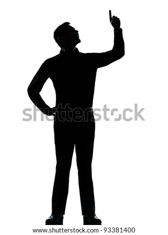 one caucasian business man poiting up happy  silhouette standing Full length in studio isolated on white background - stock photo