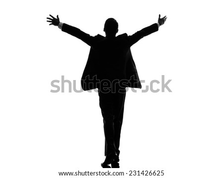 one caucasian business man rear view back arms outstretched in silhouette on white background - stock photo