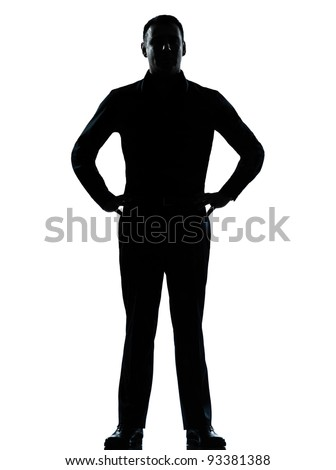 one caucasian business man silhouette standing hands on hips Full length in studio isolated on white background - stock photo