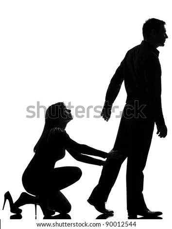 one caucasian couple dispute separation man leaving and woman holding back in studio silhouette isolated on white background - stock photo