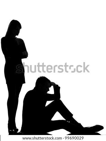 one caucasian couple man and woman dispute conflict full length in studio silhouette isolated on white background - stock photo