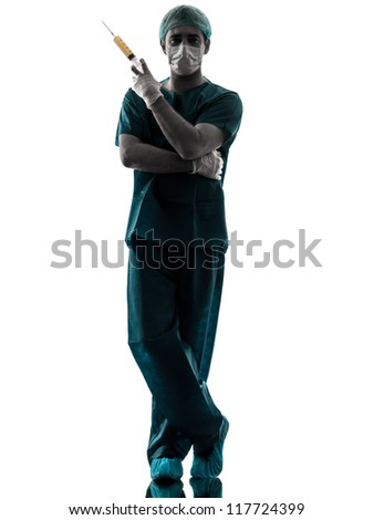 one caucasian doctor suegon  Anesthetist man holding surgery needle  silhouette isolated on white background - stock photo
