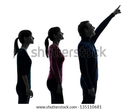 one caucasian family father mother daughter man looking up surprised happy in silhouette studio isolated on white background - stock photo