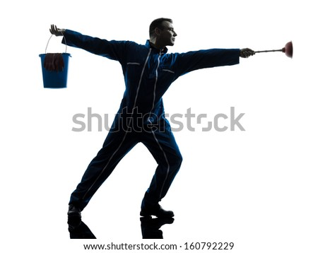 one caucasian janitor cleaner cleaning silhouette in studio on white background - stock photo