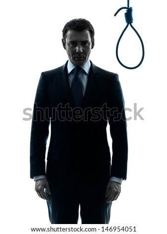 one caucasian judge  man standing in front of hangman's noose in silhouette studio isolated on white background - stock photo