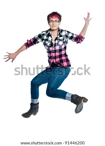 one caucasian  jumping trendy woman anxious full length in studio on white isolated background - stock photo