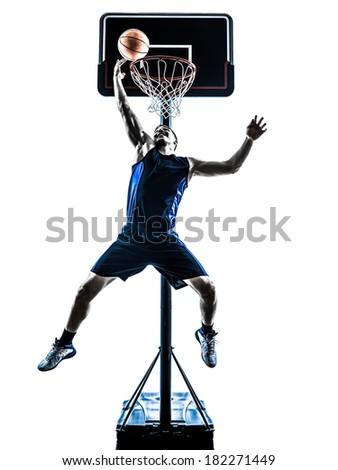 one caucasian man basketball player jumping throwing in silhouette isolated white background - stock photo