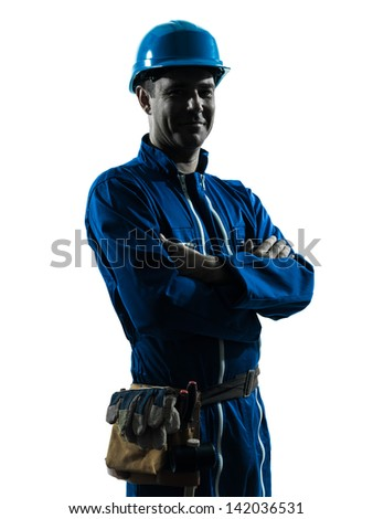 one caucasian man construction worker smiling friendly  silhouette portrait in studio on white background - stock photo