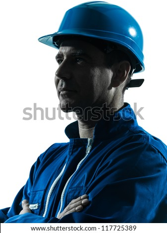 one caucasian man construction worker smiling silhouette portrait in studio on white background - stock photo