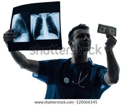 one caucasian man doctor surgeon medical worker  dollar bill  silhouette isolated on white background - stock photo