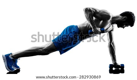 one caucasian man exercising fitness plank position exercises in studio silhouette isolated on white background - stock photo