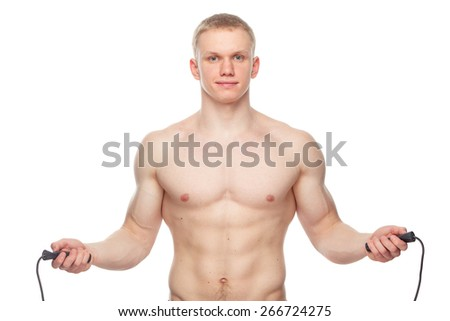 one caucasian man exercising jumping rope in silhouette studio  on white background. - stock photo