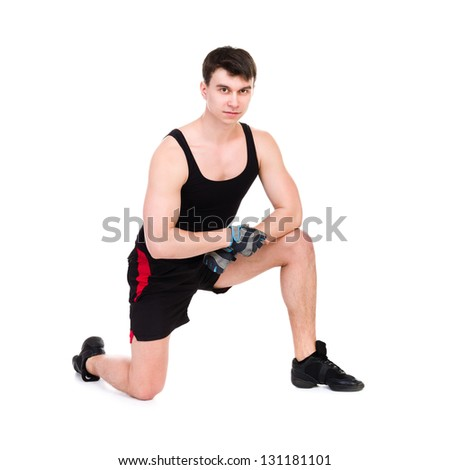 one caucasian man exercising workout fitness isolated on white background