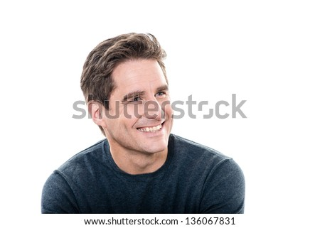 one caucasian man mature handsome man toothy smile portrait studio  white background - stock photo