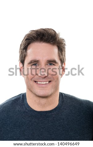 one caucasian man mature handsome portrait  blue eyes smiling portrait studio  white background - stock photo