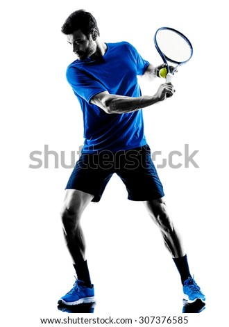 one caucasian man playing tennis player in studio silhouette isolated on white background - stock photo