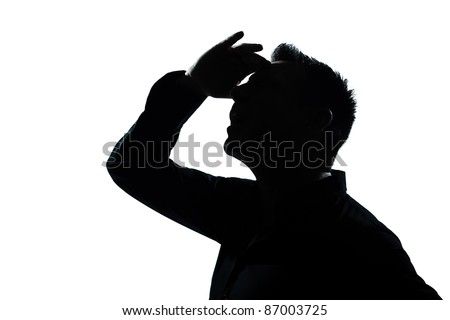one caucasian man portrait looking up forward gesture mouth open silhouette in studio isolated white background