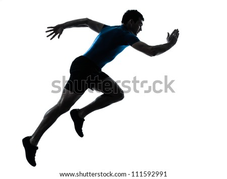 one caucasian man runner running sprinter sprinting  in silhouette studio  isolated on white background - stock photo