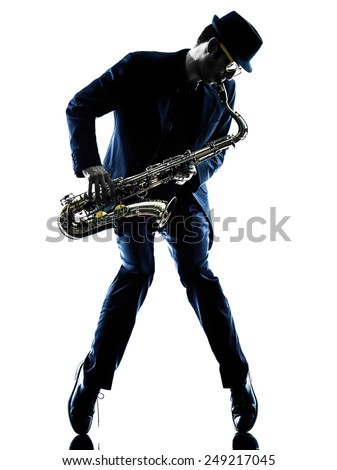 one caucasian man  saxophonist playing saxophone player in studio silhouette isolated on white background - stock photo