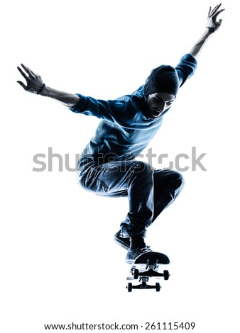 one caucasian man skateboarder skateboarding in silhouette isolated on white background - stock photo