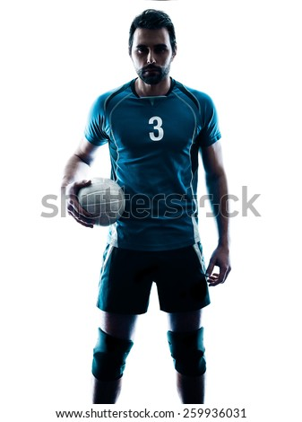 one caucasian man volleyball in studio silhouette isolated on white background - stock photo