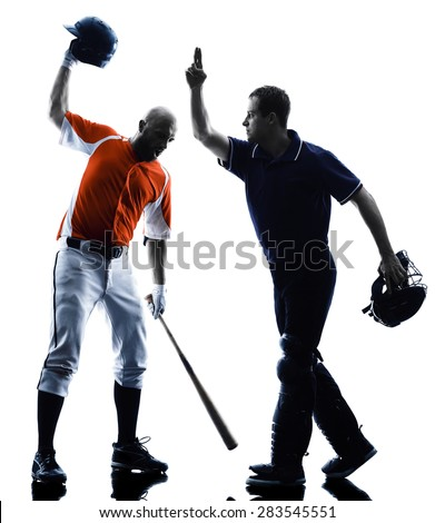 one caucasian men baseball players playing  in studio  silhouette isolated on white background