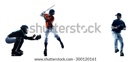 one caucasian men baseball players playing  in studio  silhouette isolated on white background - stock photo