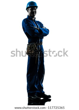 one caucasian repairman worker silhouette in studio on white background - stock photo