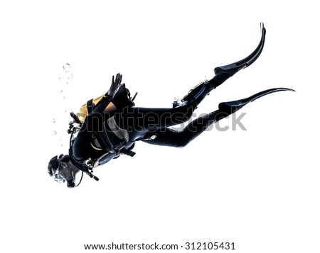 one caucasian scuba diver diving man  in studio  silhouette isolated on white background - stock photo