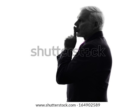 One Caucasian Senior Business Man hushing finger on lips Silhouette White Background - stock photo