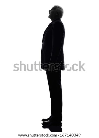One Caucasian senior business man surprised looking up silhouette White Background